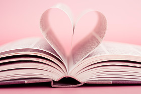 Book with pages forming heart shape
